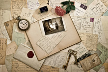 Old Letters, Photographs And Postcards. Wedding Background