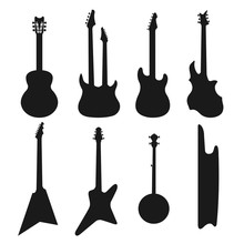 Acoustic, Electric Guitars Black And White Icons Vector Set