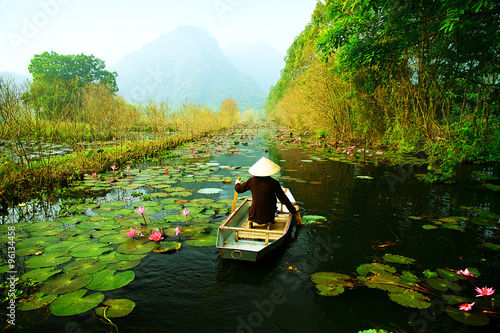 Yen stream on the way to Huong pagoda in autumn, Hanoi, Vietnam Canvas Print