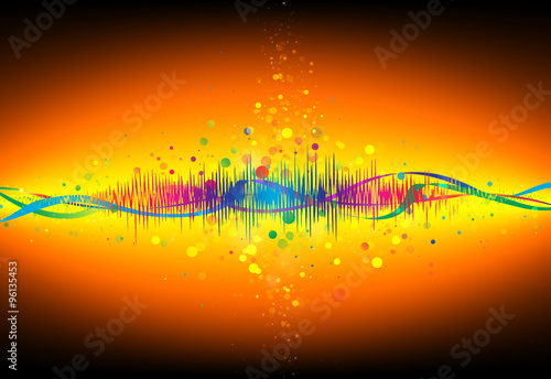 Wall Murals Beautiful morning Colorful Equalizer wave glitter sparkle defocused rays lights bokeh abstract gold background.