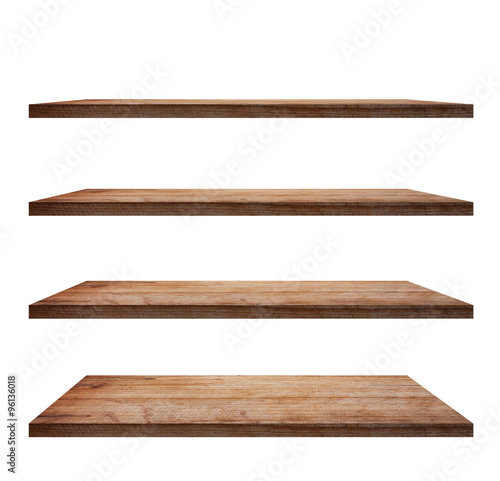 Fotografía  collection of wooden shelves on an isolated white background
