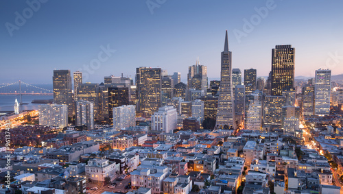 Keuken foto achterwand San Francisco San Francisco Downtown from top of Coit Tower in Telegraph Hill, Dusk.