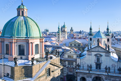 old Prague towers and spires, Old Town district, Prague (UNESCO), Czech republic Wallpaper Mural