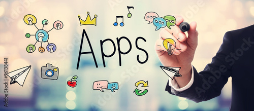 Photo Businessman drawing APPS concept