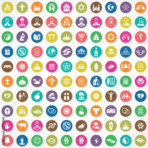 religion 100 icons universal set Wall mural