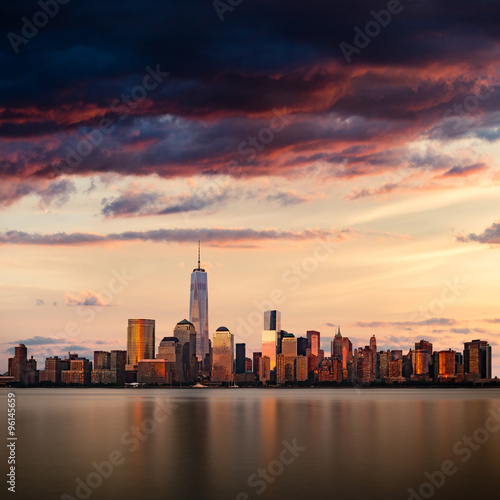 New York City cityscape during sunset