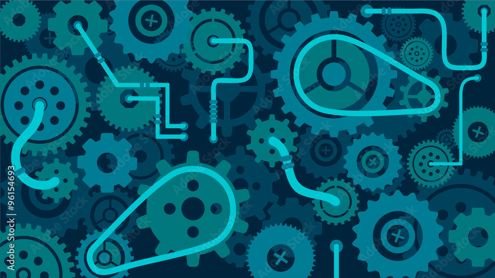 Fototapety, obrazy: Train of gears, trundles and cogwheels, complex clock or machine mechanism, cog in the machine, vector background