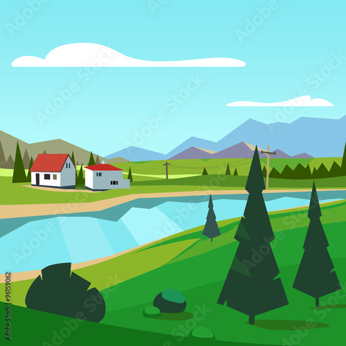 Spoed Foto op Canvas Turkoois Spring rural farm riverside scenic with mountains