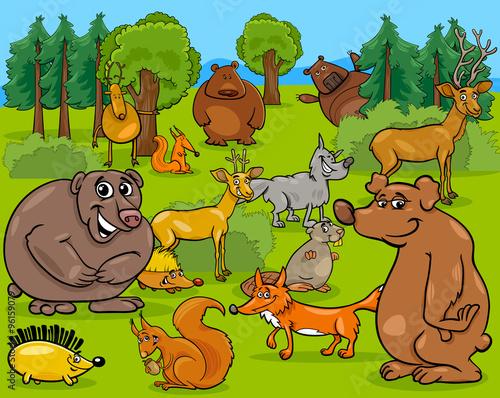Deurstickers Pony forest animals cartoon illustration