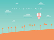 Hot Air Balloon Flying Over Landscape Vector Abstract Background