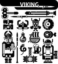 Viking Black White Icons Set