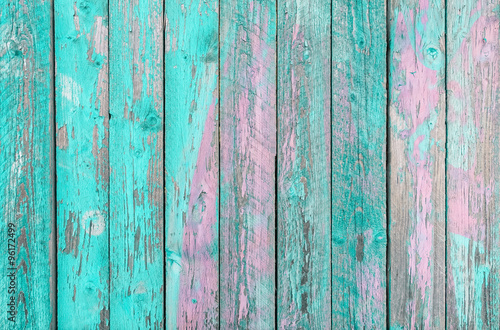 Fotografía Aquamarine and purple wooden planks background -  Colorful outer fence deteriora