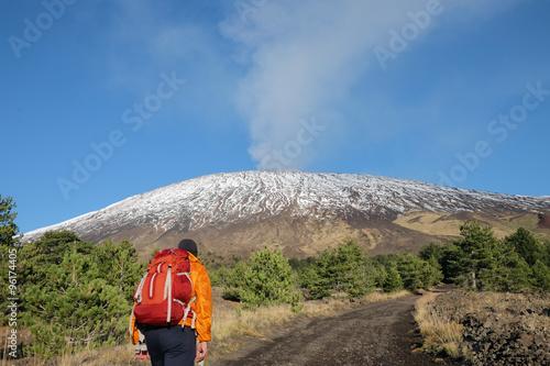 Vászonkép  Hiker On Volcano Etna Park, Sicily