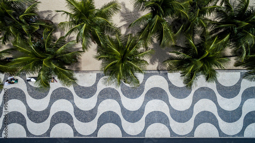 Top View of Copacabana beach with mosaic of sidewalk in Rio de Janeiro Wallpaper Mural
