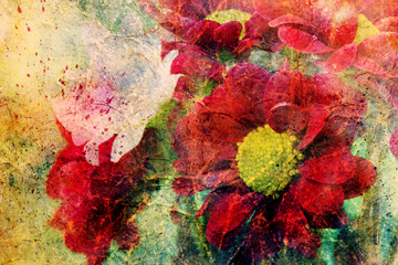Obraz artwork with red flowers and watercolor splashes