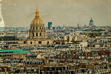 Old postcard with aerial view of Dome des Invalides, Paris, Fran - 96187873