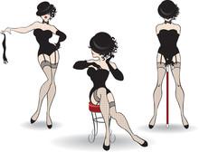 Beautiful Cabaret Girls Pose On Stage