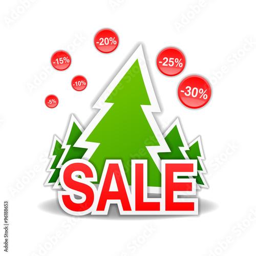 Sale, discount, Christmas tree, vector