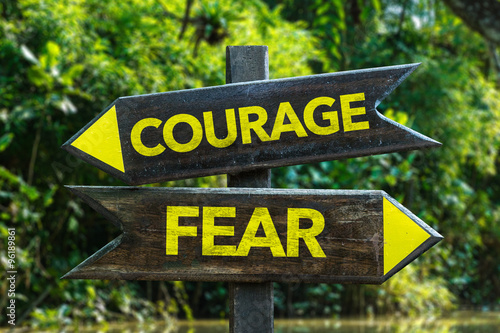Fotografie, Obraz  Courage - Fear signpost with forest background