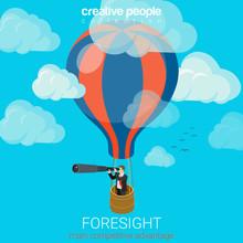 Flat 3d Vector Business Foresight Future Balloon Sky Spyglass