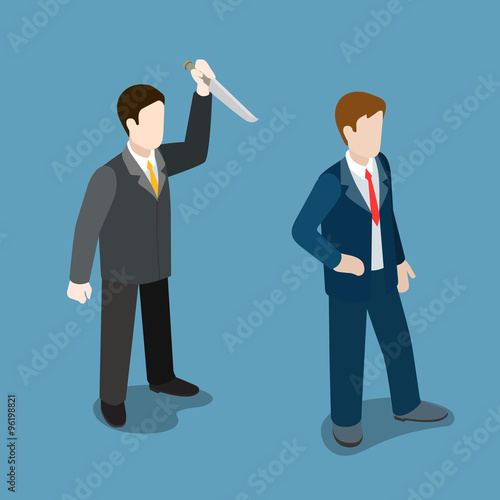 Businessman attacks knife meanness trick flat isometric vector Canvas Print