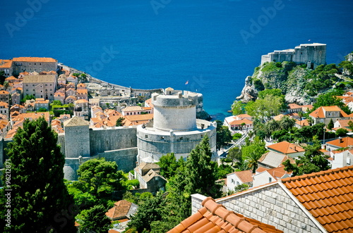 Recess Fitting Blue View on ancient castle in Dubrovnik. Croatia. roofs of the old town