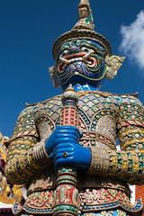 Fototapeta na wymiar Ravana warrior statue in Wat Phra Kaew temple in Bangkok, Thaila