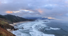 View From Ecola State Park To Cannon Beach In Pacific Ocean, Oregon Coast. USA