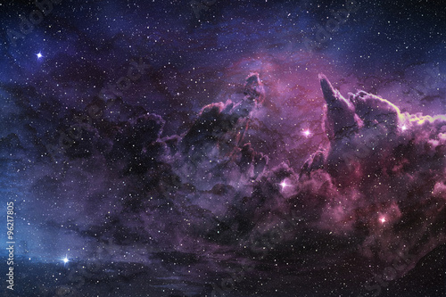 Fotografering  purple nebula and cosmic dust in star field