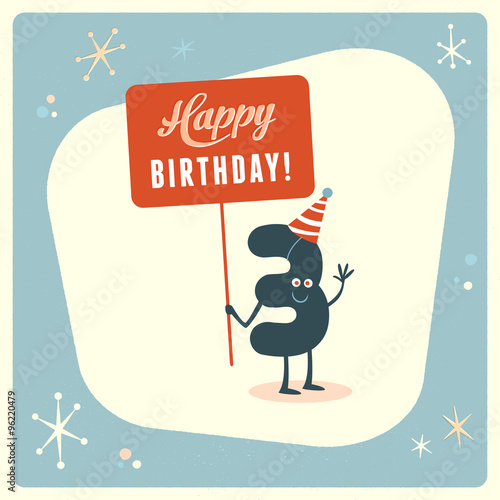 Vintage Style Funny 3rd Birthday Card Editable Grunge Effects Can