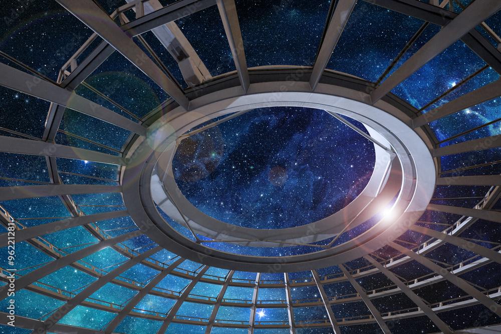 Fototapety, obrazy: glass dome of astronomical observatory under a starry sky