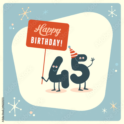 Vintage style funny 45th birthday Card - Editable, grunge