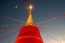 Stupa Decorated In Red In Wat ...