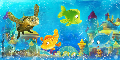 Cartoon underwater animals - illustration for the children