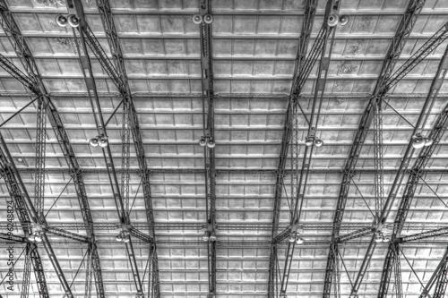 Staande foto Industrial geb. Metal roof on industrial building inside view