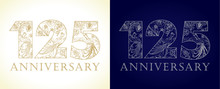 125 Anniversary Vintage Logo. Template Numbers Of 125th Jubilee In Ethnic Patterns And Birds Of Paradise.