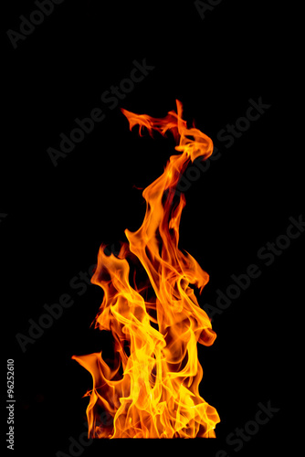 Canvas Prints Fire / Flame yellow Fire flame isolated on black background