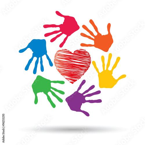 Fototapeta Concept circle of hands, red heart love symbol obraz na płótnie