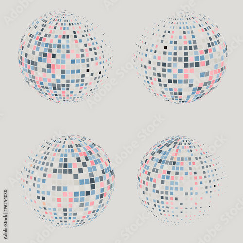 Collection Of Halftone Sphere Vector Logo Template Abstract Globe Symbol Isolated Round Icon