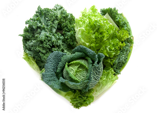 Staande foto Groenten Heart shape green vegetables