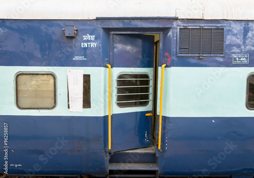 Fotobehang Delhi Indian Railway passenger coach entry of a 3 Tier Air Conditioned coach