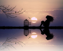 Girl With Cage For Birds