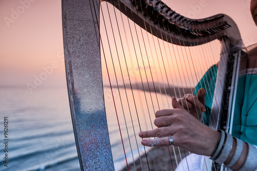 Vászonkép Close up of the hands of woman playing harp by the sea at sunset