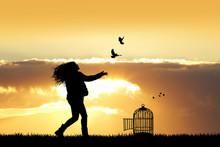 Girl And Birds At Sunset