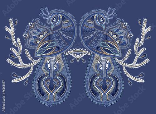 Fotografija  ethnic folk art of two peacock bird with flowering branch design