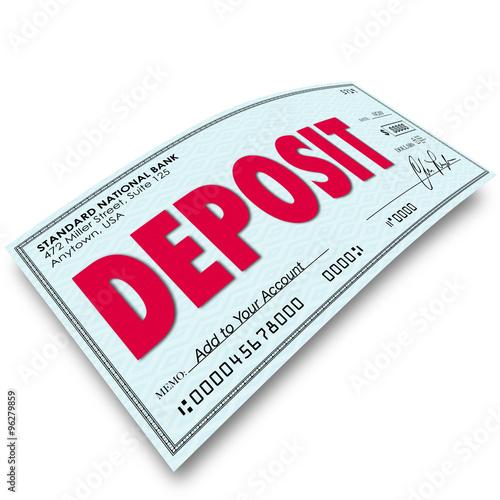 Fototapeta Deposit Word Check Putting Money Into Your Bank Account obraz
