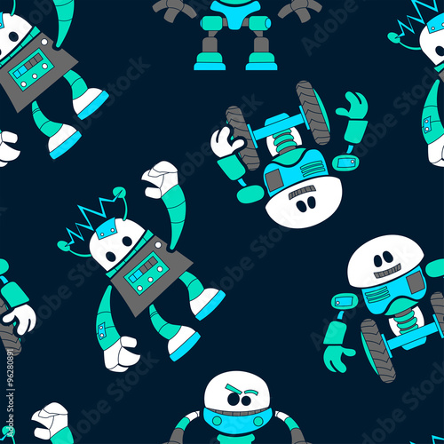 Poster Magie Cute robots in a seamless pattern on navy background