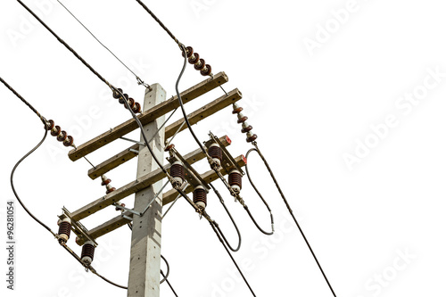 wire cables on electricity pole in the city for safety concept o Canvas Print