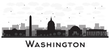 Washington Dc City Skyline Black And White Silhouette. Some Elements Have Transparency Mode Different From Normal