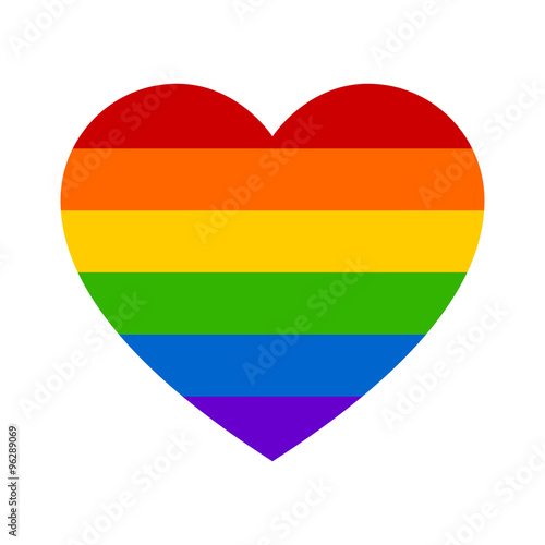 Gay marriage rainbow heart flat icon for apps and websites Wall mural